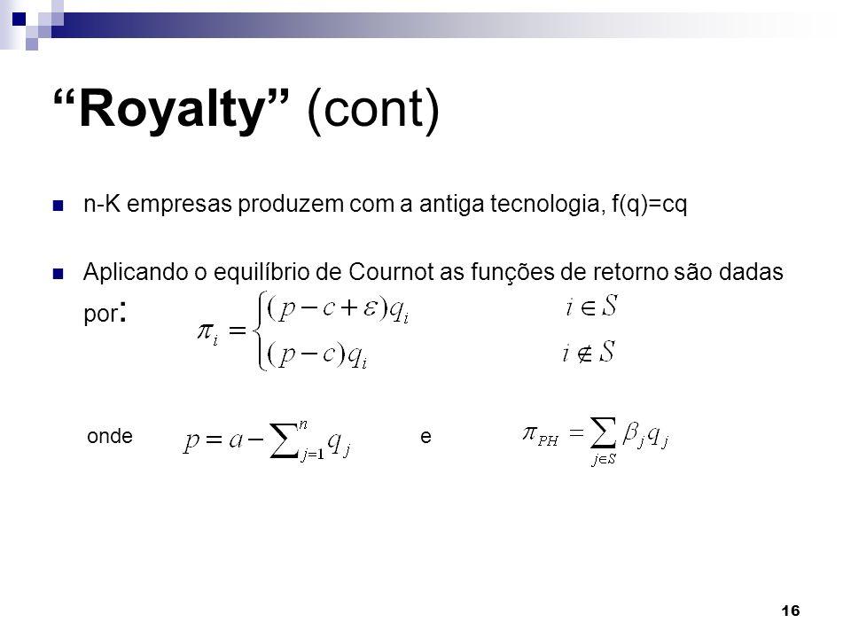 Royalty (cont) n-K empresas produzem com a antiga tecnologia, f(q)=cq. Aplicando o equilíbrio de Cournot as funções de retorno são dadas por: