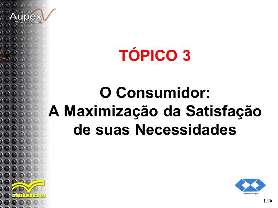 TÓPICO 3 O Consumidor: A Maximização da Satisfação de suas Necessidades