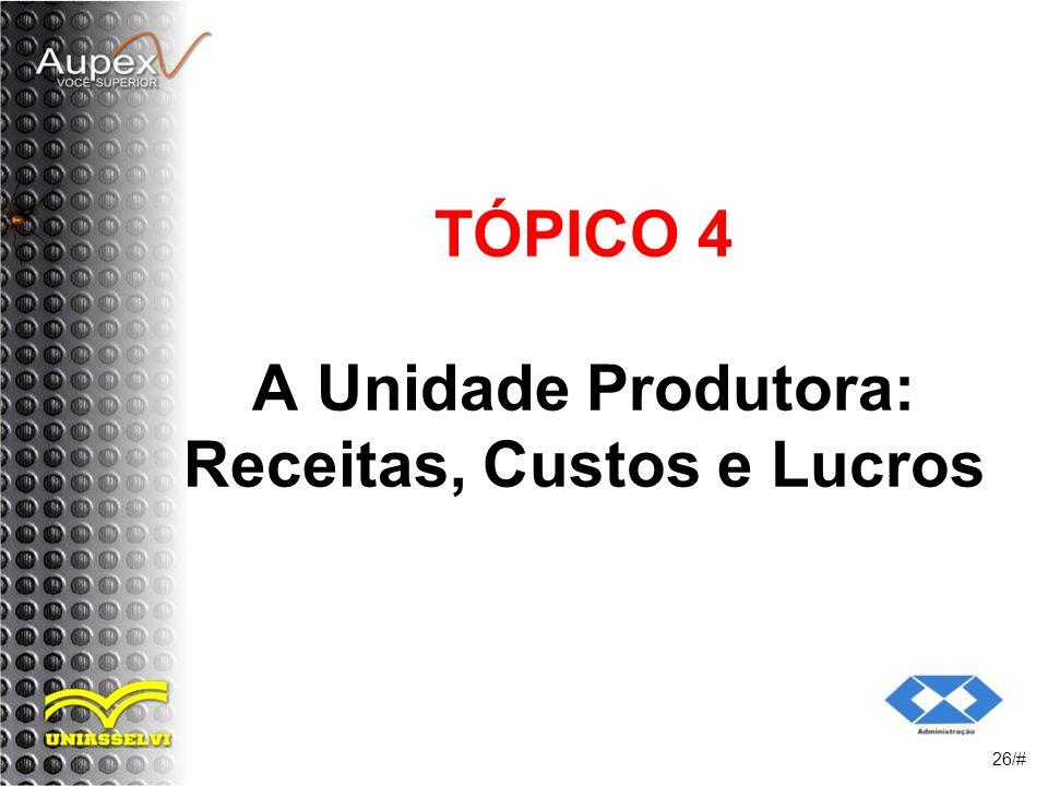 TÓPICO 4 A Unidade Produtora: Receitas, Custos e Lucros