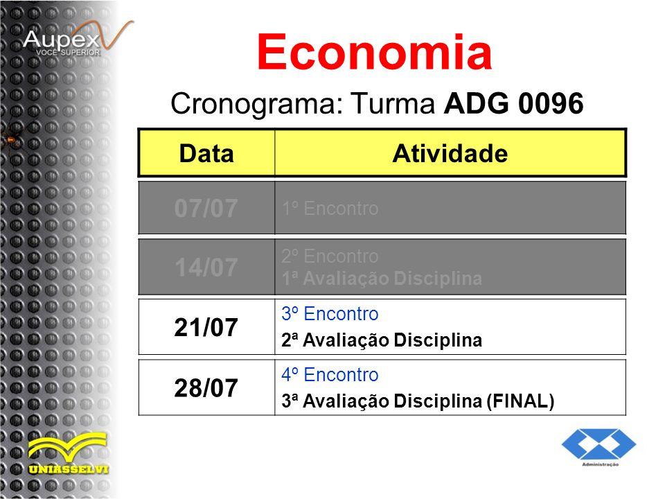 Economia Cronograma: Turma ADG 0096 Data Atividade 07/07 05/07 14/07
