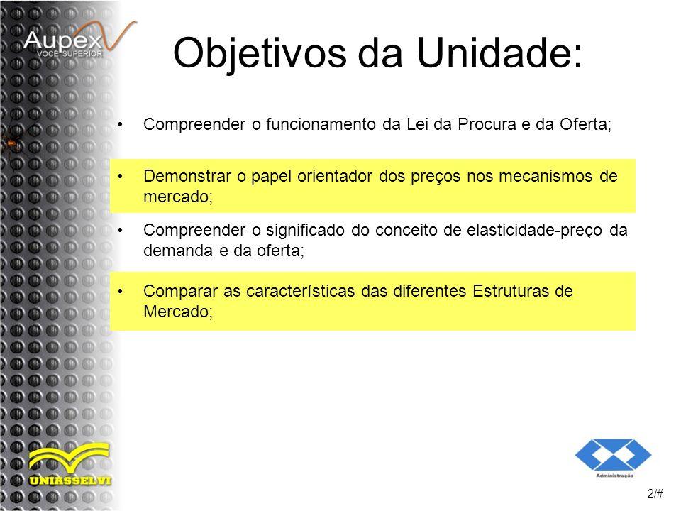 Objetivos da Unidade: Compreender o funcionamento da Lei da Procura e da Oferta; Demonstrar o papel orientador dos preços nos mecanismos de mercado;