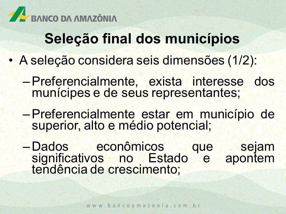 Seleção final dos municípios