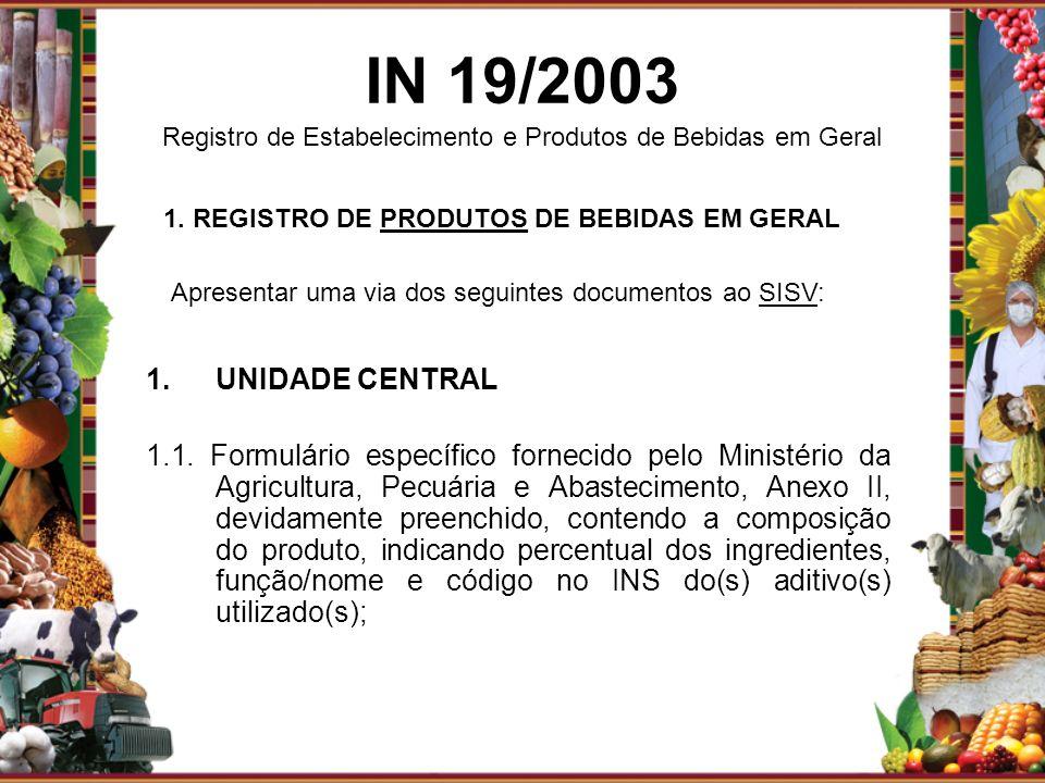 1. REGISTRO DE PRODUTOS DE BEBIDAS EM GERAL
