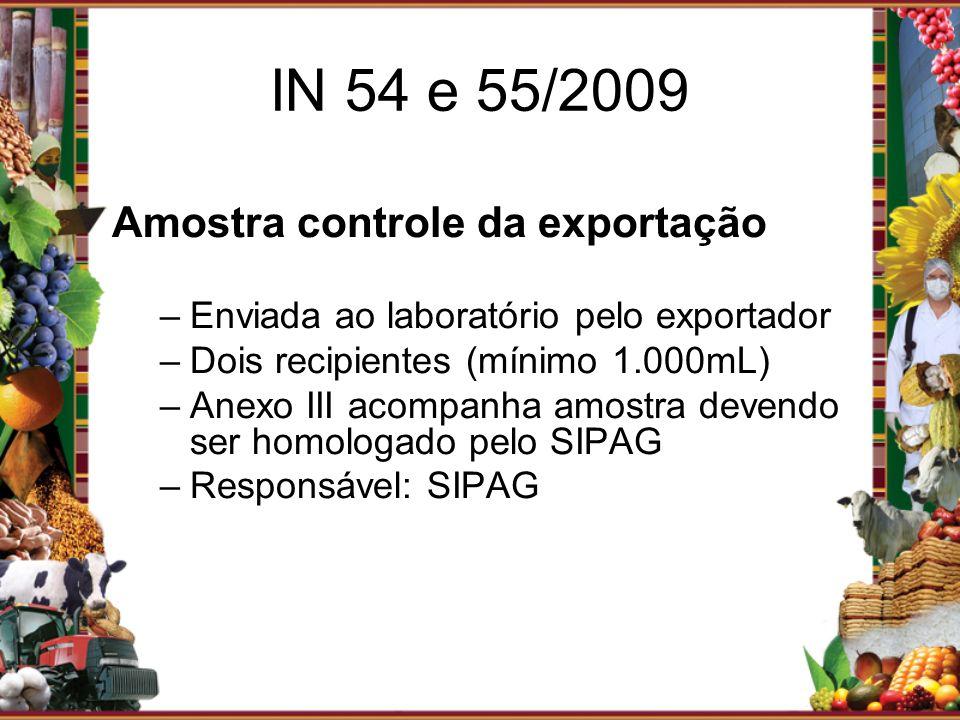 IN 54 e 55/2009 Amostra controle da exportação