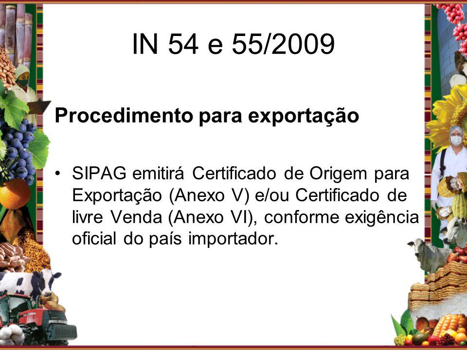 IN 54 e 55/2009 Procedimento para exportação