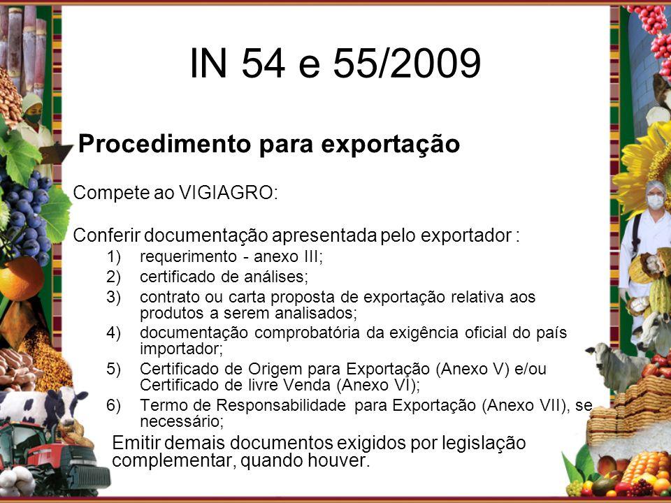 IN 54 e 55/2009 Compete ao VIGIAGRO: