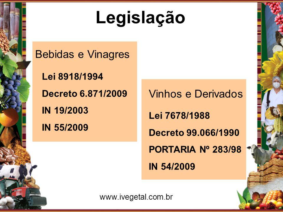 Legislação Bebidas e Vinagres Vinhos e Derivados Lei 8918/1994