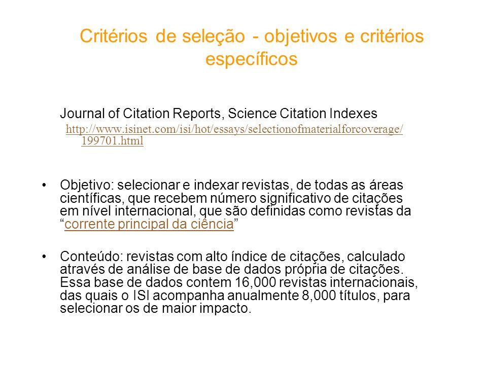 Critérios de seleção - objetivos e critérios específicos
