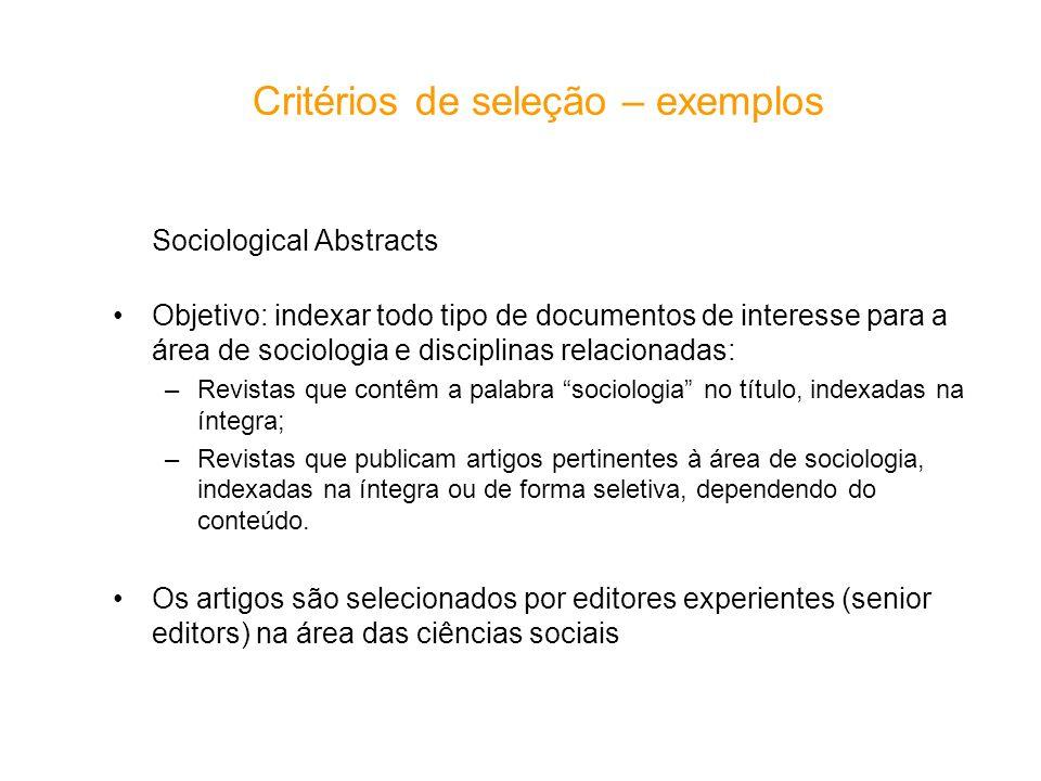 Critérios de seleção – exemplos
