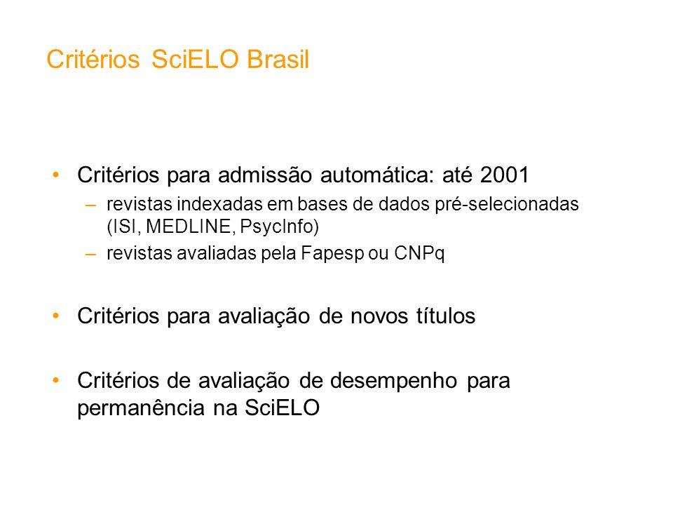 Critérios SciELO Brasil