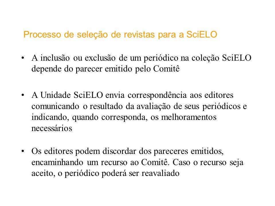 Processo de seleção de revistas para a SciELO
