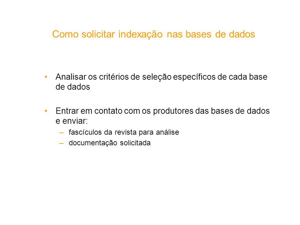 Como solicitar indexação nas bases de dados
