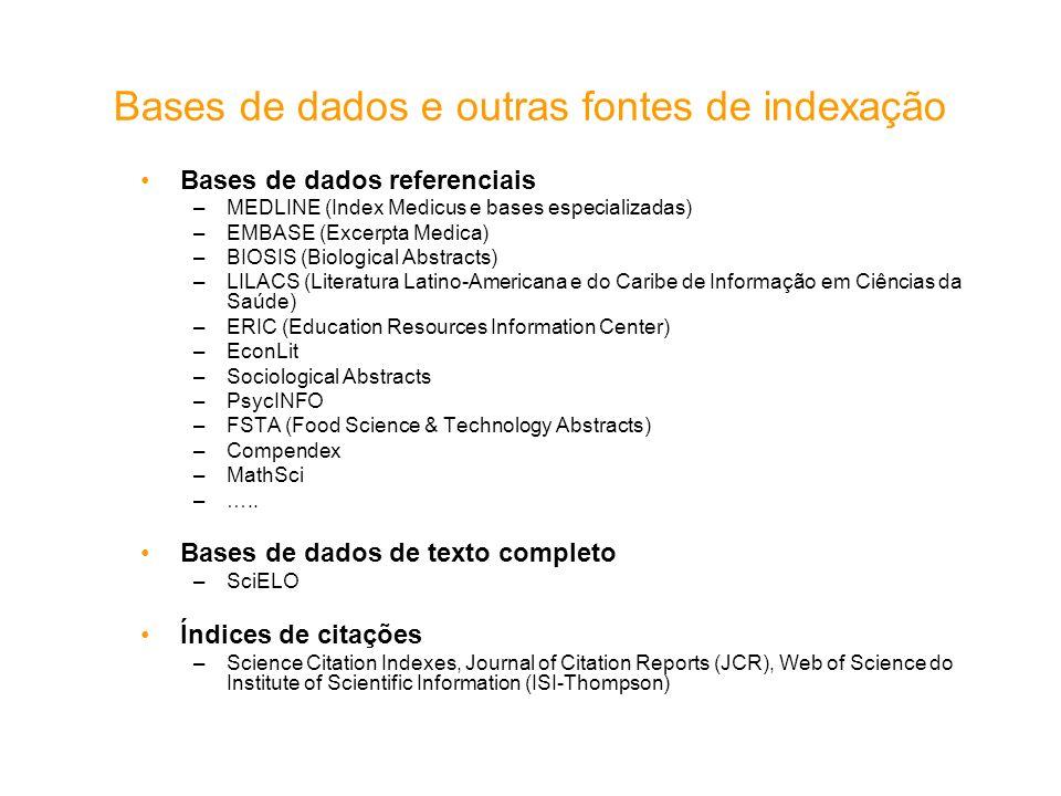 Bases de dados e outras fontes de indexação