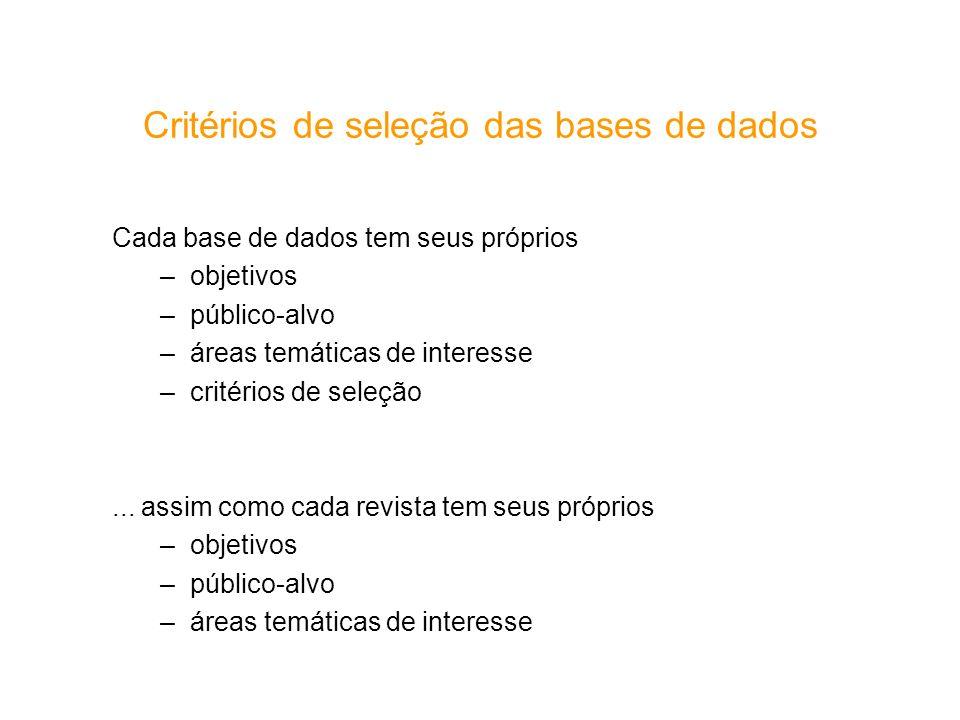 Critérios de seleção das bases de dados