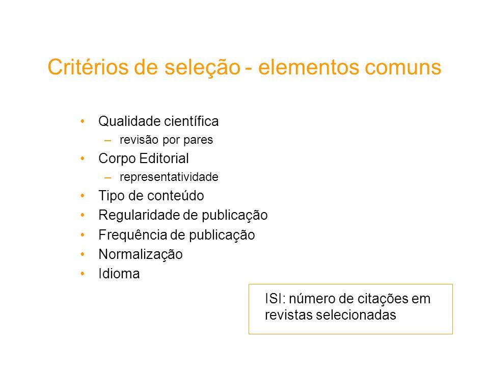 Critérios de seleção - elementos comuns