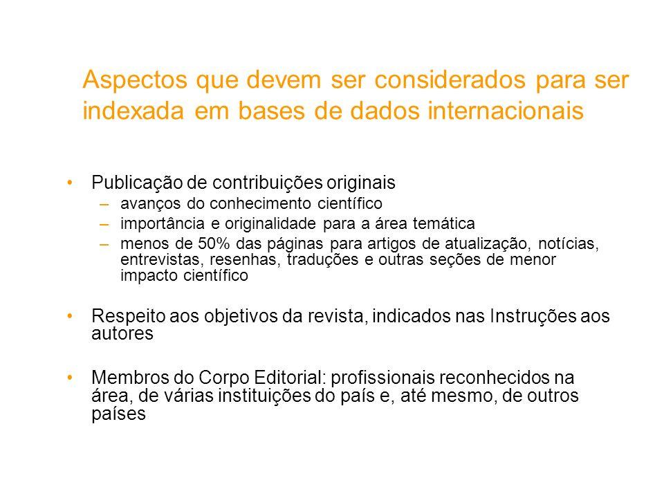 Aspectos que devem ser considerados para ser indexada em bases de dados internacionais