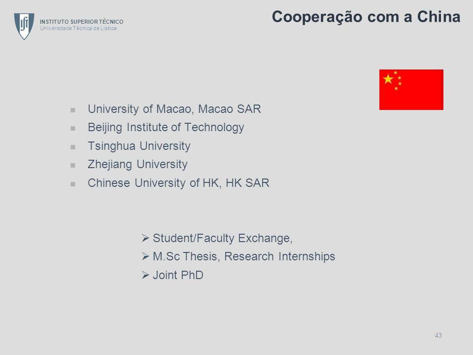 Cooperação com a China University of Macao, Macao SAR