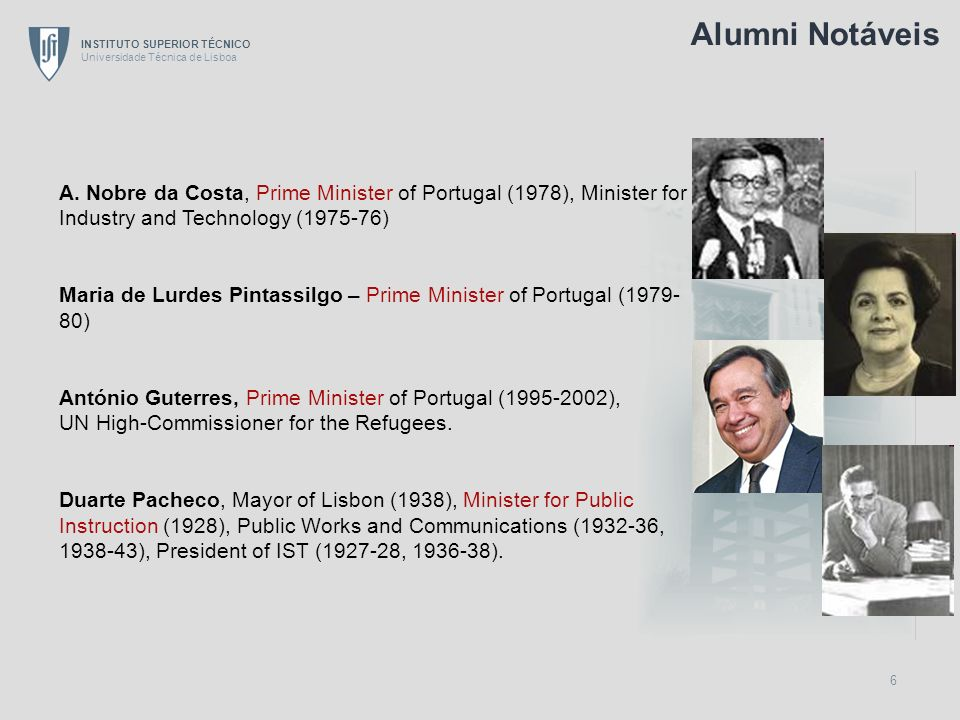 Alumni Notáveis A. Nobre da Costa, Prime Minister of Portugal (1978), Minister for Industry and Technology (1975-76)