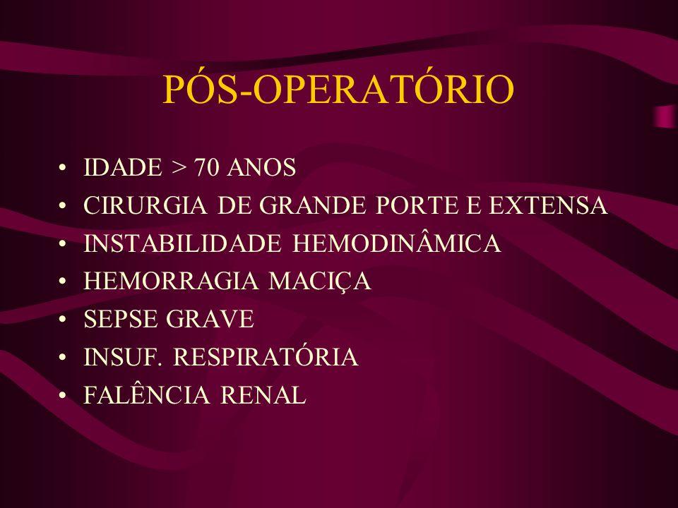PÓS-OPERATÓRIO IDADE > 70 ANOS CIRURGIA DE GRANDE PORTE E EXTENSA