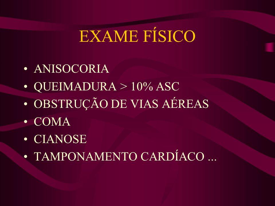 EXAME FÍSICO ANISOCORIA QUEIMADURA > 10% ASC