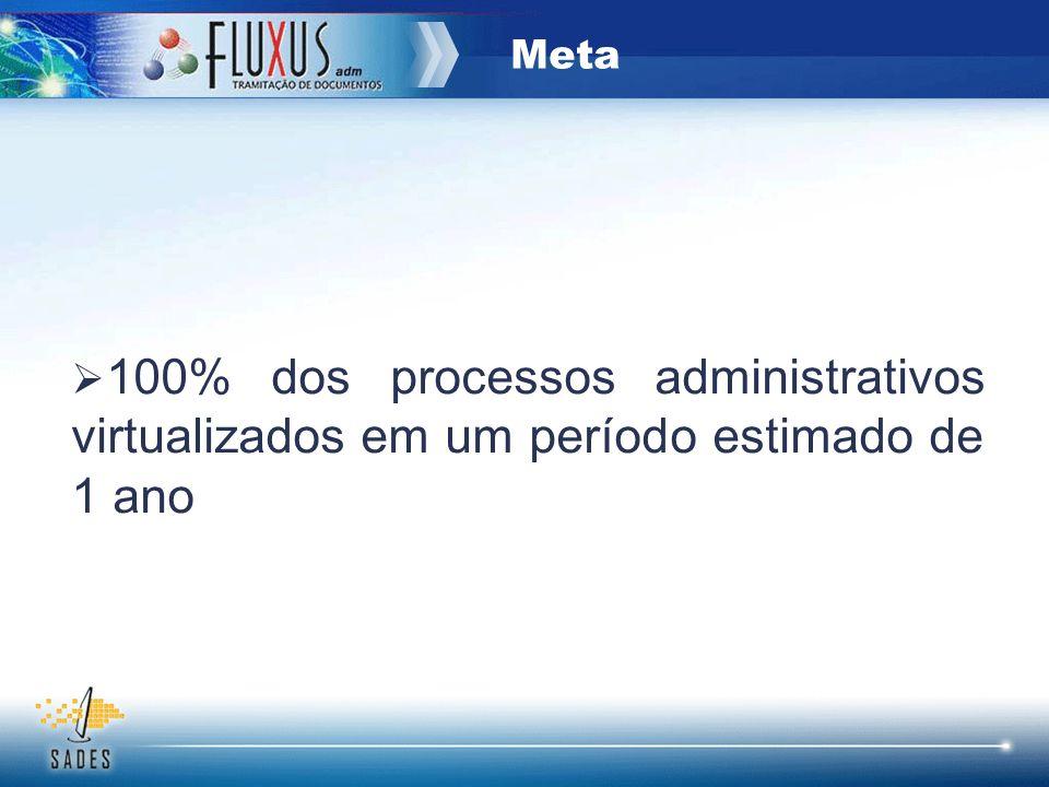 Meta 100% dos processos administrativos virtualizados em um período estimado de 1 ano