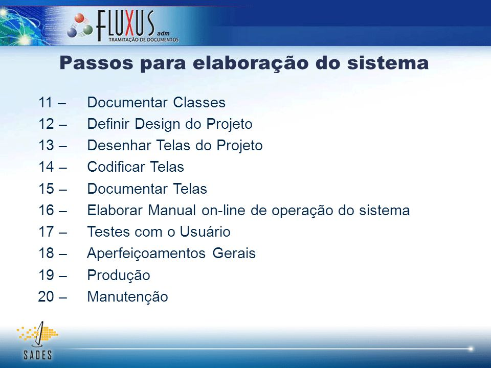 Passos para elaboração do sistema