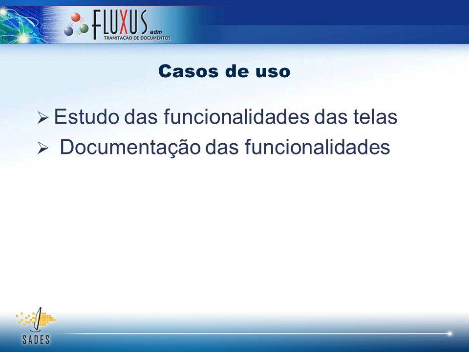 Estudo das funcionalidades das telas Documentação das funcionalidades