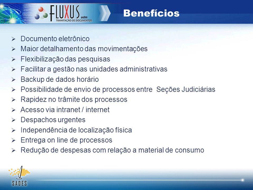 Benefícios Documento eletrônico Maior detalhamento das movimentações