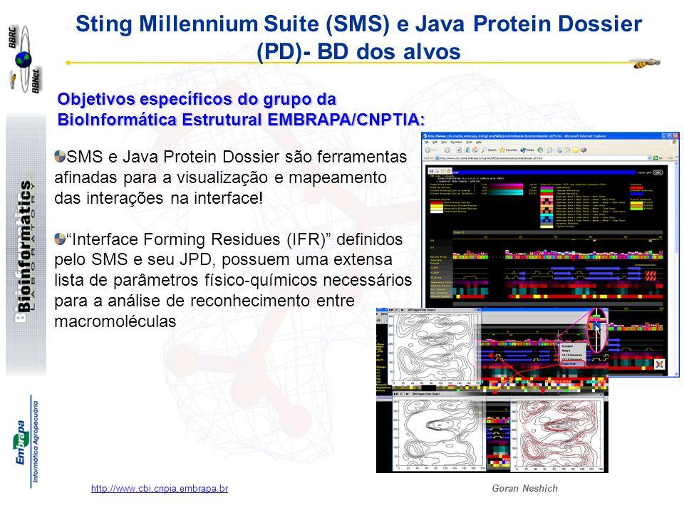 Sting Millennium Suite (SMS) e Java Protein Dossier (PD)- BD dos alvos