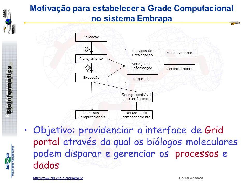 Motivação para estabelecer a Grade Computacional no sistema Embrapa