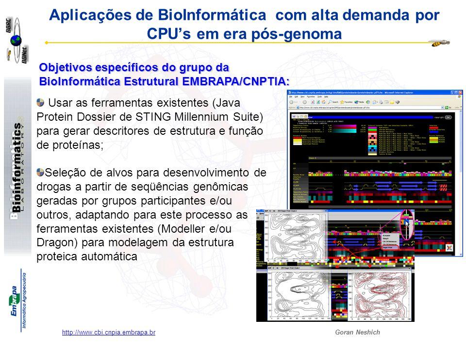Aplicações de BioInformática com alta demanda por CPU's em era pós-genoma