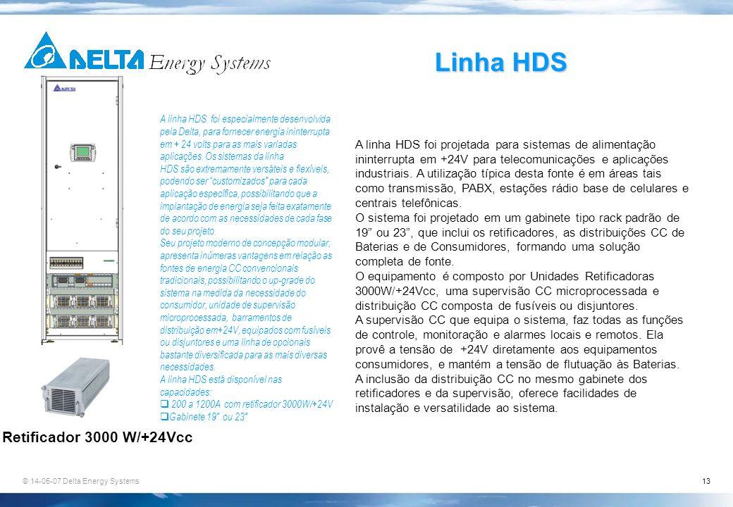 Linha HDS Retificador 3000 W/+24Vcc