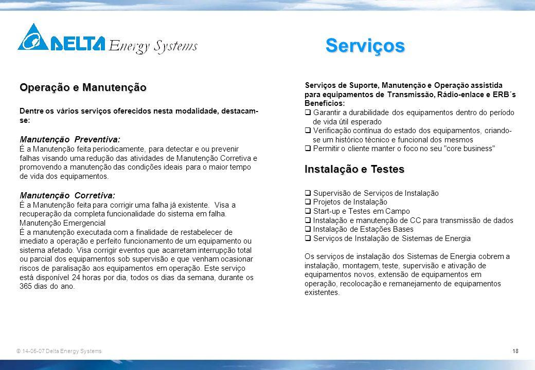 Serviços Operação e Manutenção Instalação e Testes