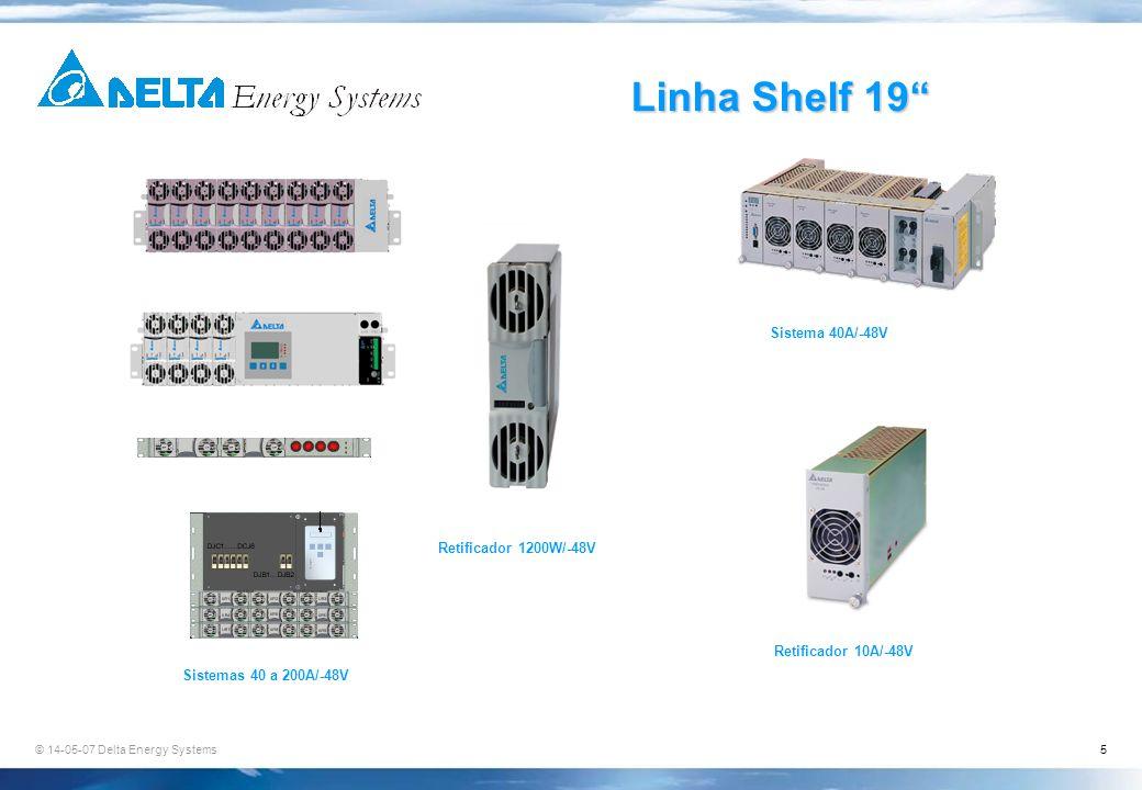 Linha Shelf 19 Sistema 40A/-48V Retificador 1200W/-48V