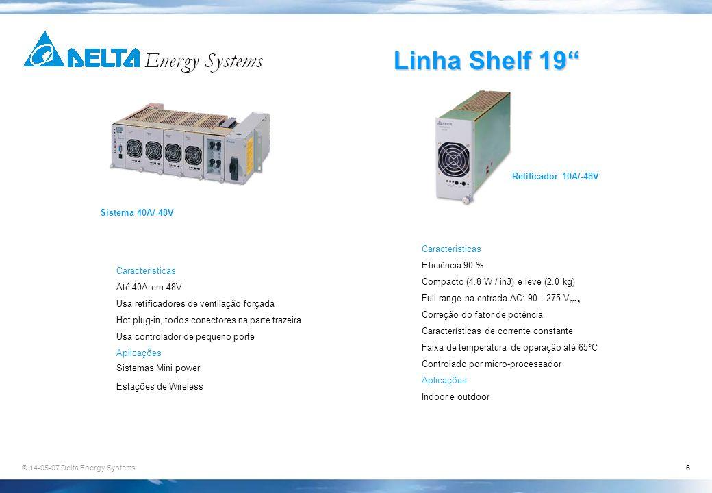 Linha Shelf 19 Retificador 10A/-48V Sistema 40A/-48V Caracteristicas