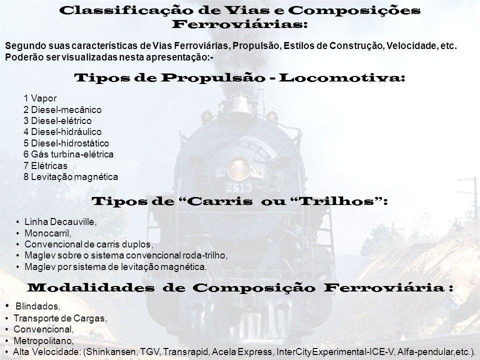 Classificação de Vias e Composições Ferroviárias: