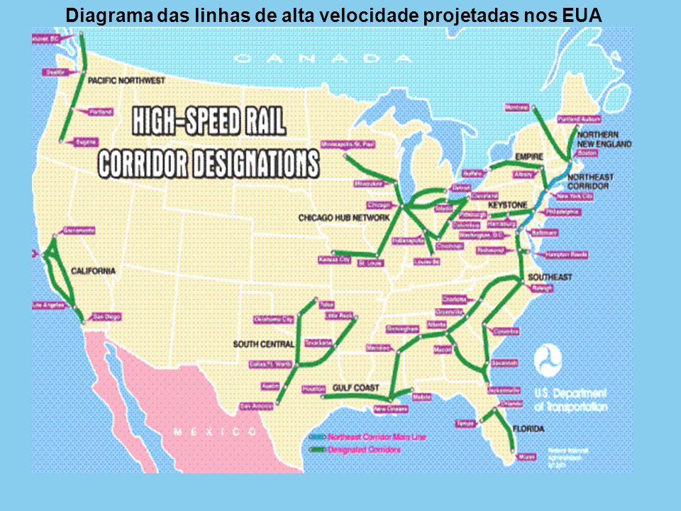 Diagrama das linhas de alta velocidade projetadas nos EUA