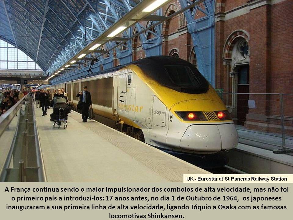A França continua sendo o maior impulsionador dos comboios de alta velocidade, mas não foi o primeiro país a introduzi-los: 17 anos antes, no dia 1 de Outubro de 1964, os japoneses inauguraram a sua primeira linha de alta velocidade, ligando Tóquio a Osaka com as famosas locomotivas Shinkansen.