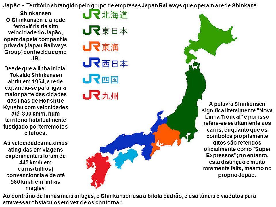 Japão - Território abrangido pelo grupo de empresas Japan Railways que operam a rede Shinkans