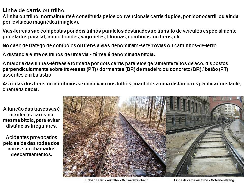 Linha de carris ou trilho