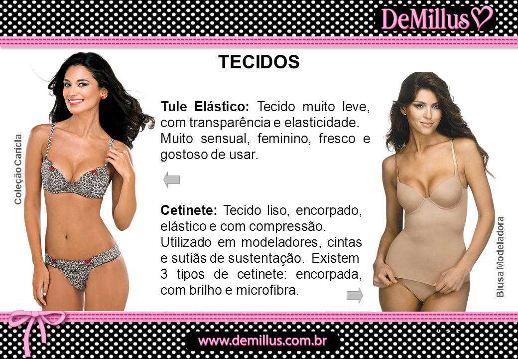 TECIDOS Tule Elástico: Tecido muito leve, com transparência e elasticidade. Muito sensual, feminino, fresco e gostoso de usar.