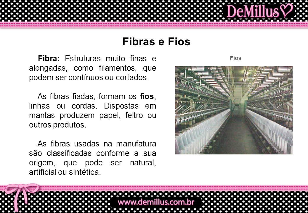 Fibras e Fios Fibra: Estruturas muito finas e alongadas, como filamentos, que podem ser contínuos ou cortados.