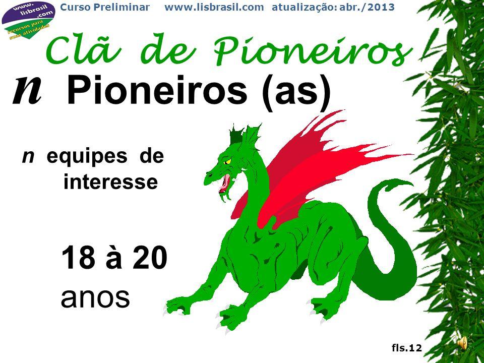 Clã de Pioneiros n Pioneiros (as) n equipes de interesse 18 à 20 anos