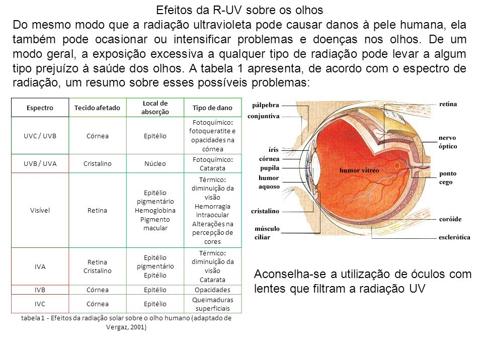 Efeitos da R-UV sobre os olhos