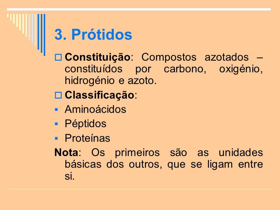 3. Prótidos Constituição: Compostos azotados – constituídos por carbono, oxigénio, hidrogénio e azoto.
