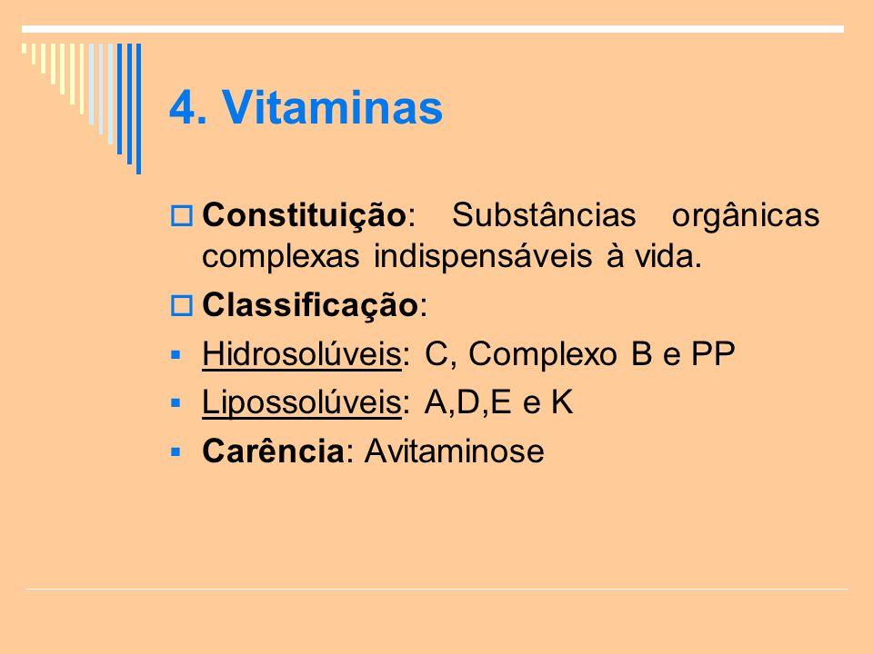 4. Vitaminas Constituição: Substâncias orgânicas complexas indispensáveis à vida. Classificação: Hidrosolúveis: C, Complexo B e PP.