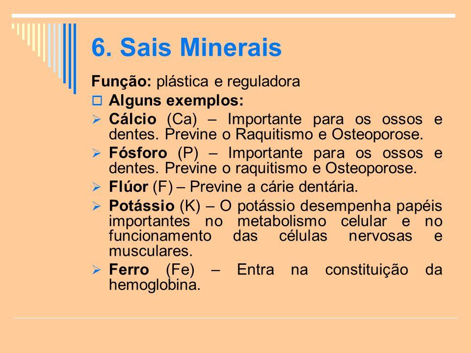 6. Sais Minerais Função: plástica e reguladora Alguns exemplos: