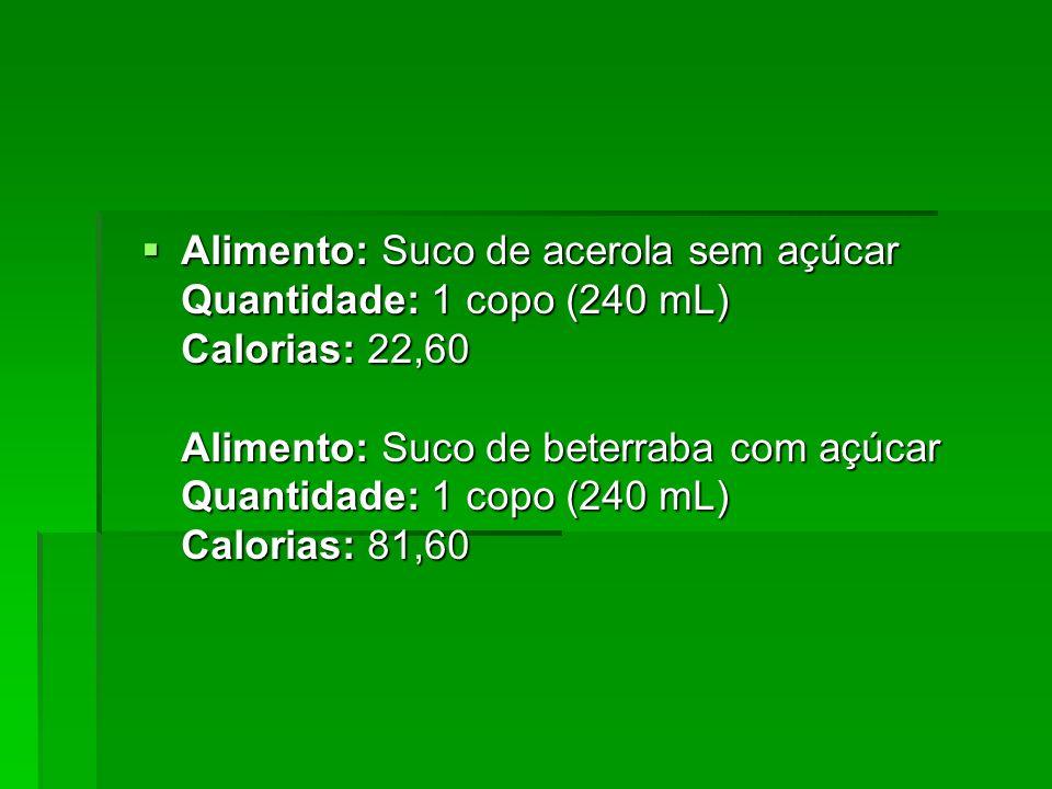 Alimento: Suco de acerola sem açúcar Quantidade: 1 copo (240 mL) Calorias: 22,60 Alimento: Suco de beterraba com açúcar Quantidade: 1 copo (240 mL) Calorias: 81,60
