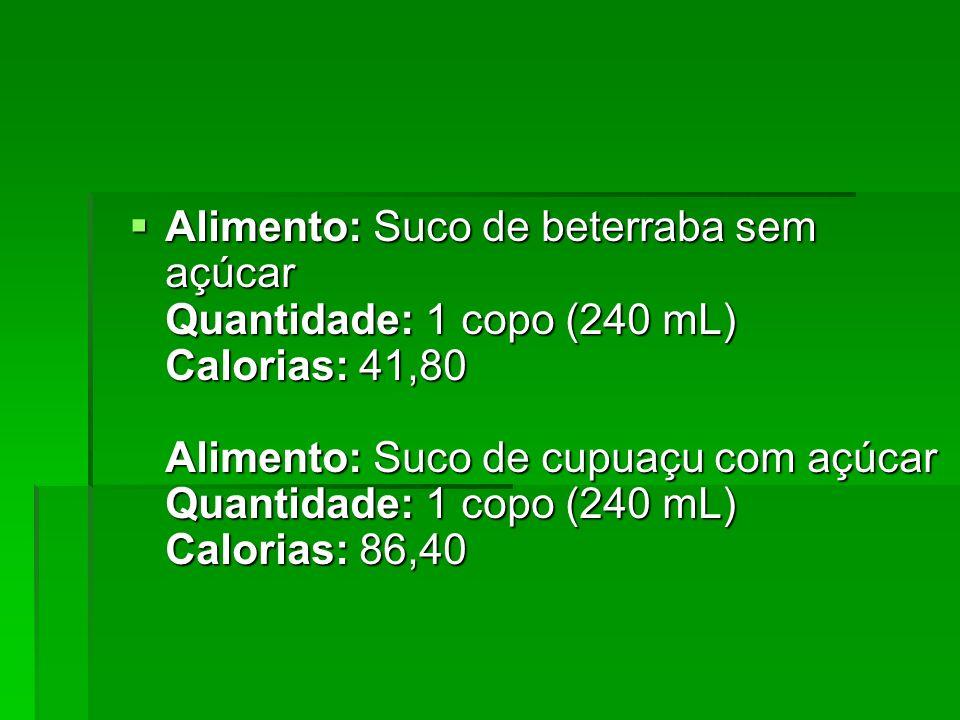 Alimento: Suco de beterraba sem açúcar Quantidade: 1 copo (240 mL) Calorias: 41,80 Alimento: Suco de cupuaçu com açúcar Quantidade: 1 copo (240 mL) Calorias: 86,40
