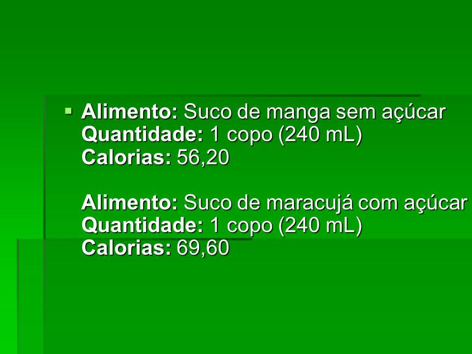 Alimento: Suco de manga sem açúcar Quantidade: 1 copo (240 mL) Calorias: 56,20 Alimento: Suco de maracujá com açúcar Quantidade: 1 copo (240 mL) Calorias: 69,60